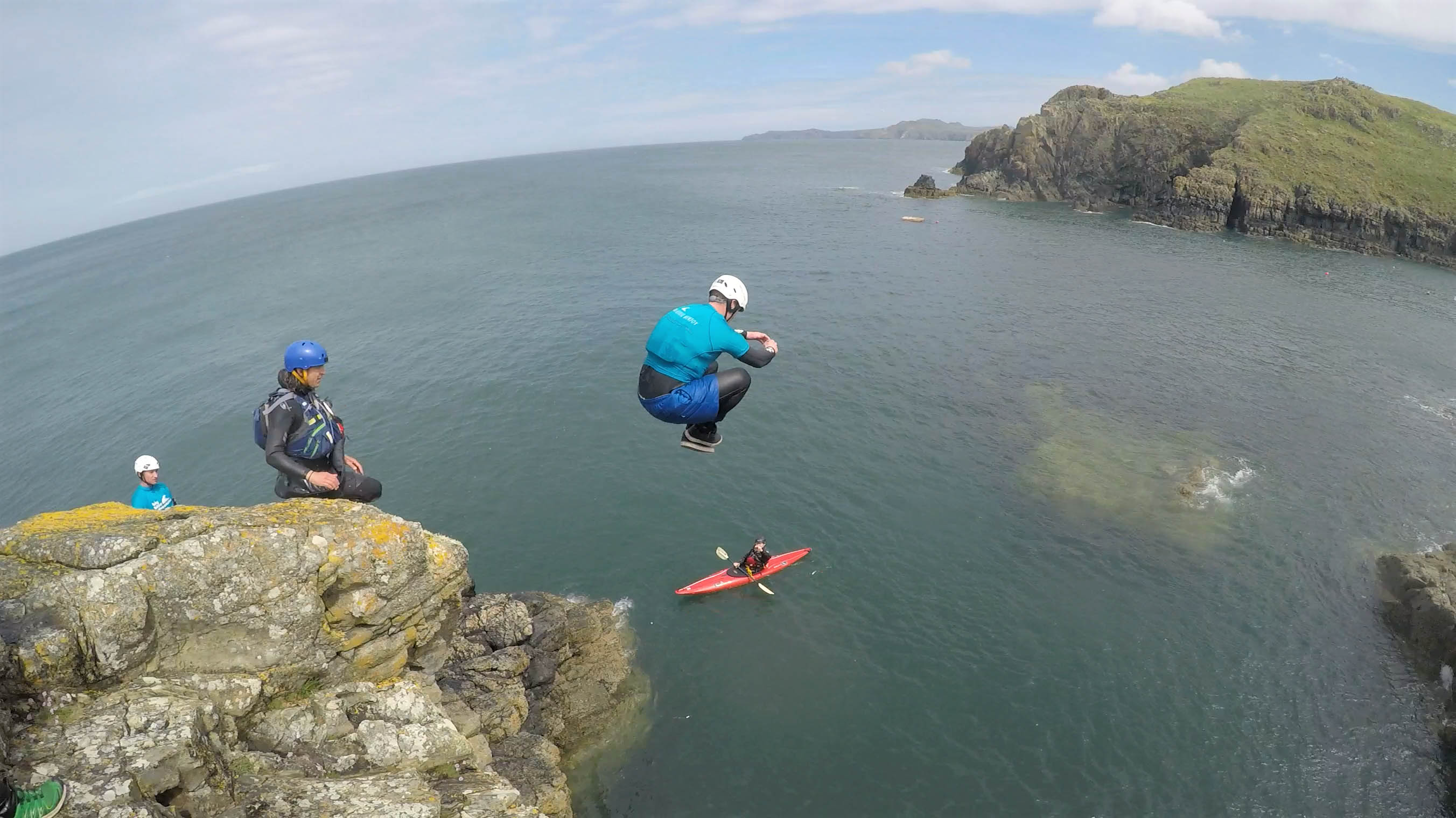 Coasteering activity in Pembrokeshire Wales
