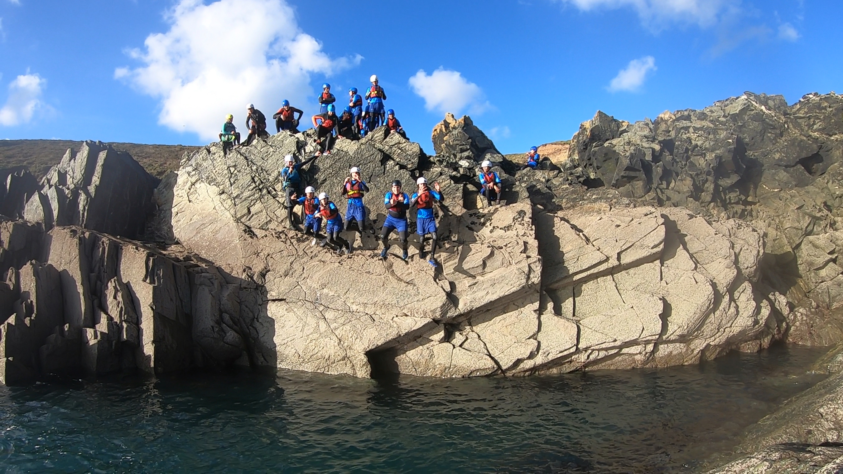 coasteering at kids camp