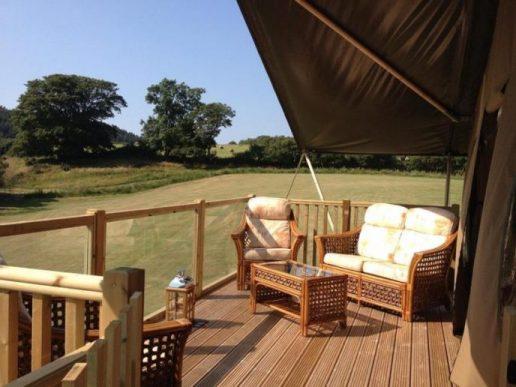 Luxury tent view on Snowdonia trip
