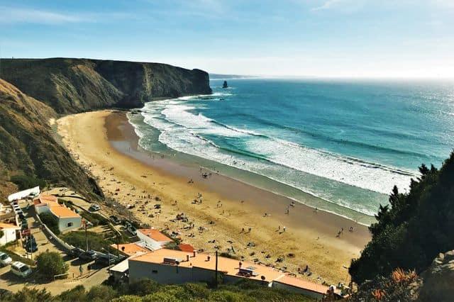 Picture of popular surf destination Arrifana in west Algarve