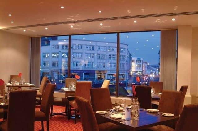 Hotel restaurant overlooking Swansea, Wales
