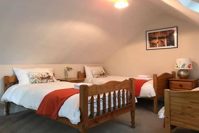 Twin bedroom set up for a team building group at Llandaff's Roald Dahl Sweetshop