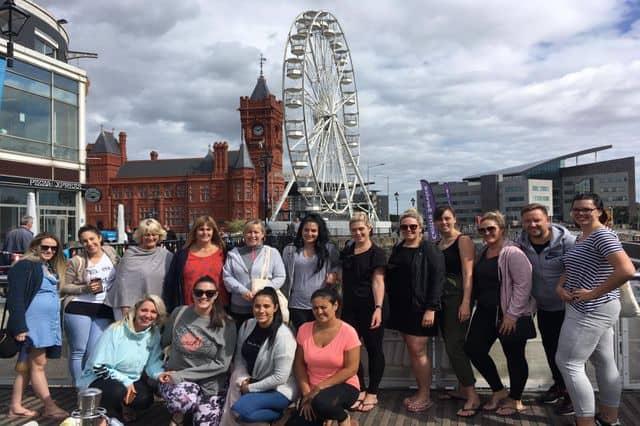 group exploring Cardiff Bay