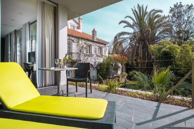 Sunbeds on a balcony terrace at Casa Vela in Cascais