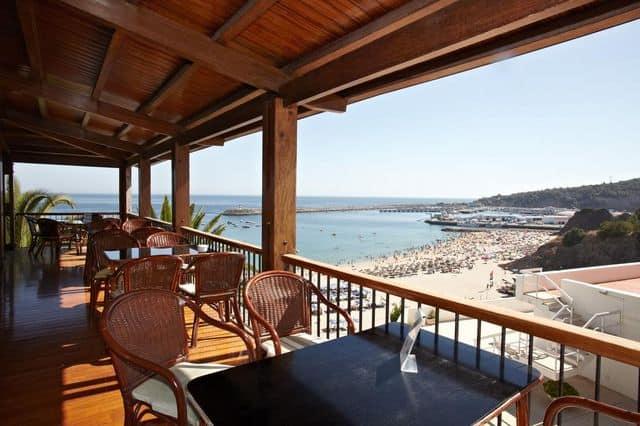 Restaurant with views over Sesimbra beach at Hotel do Mar near Lisbon