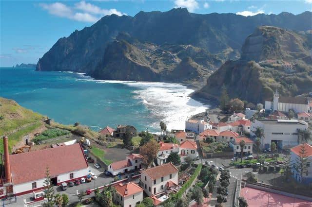 Drone shot from Porto da Cruz in Madeira, Portugal