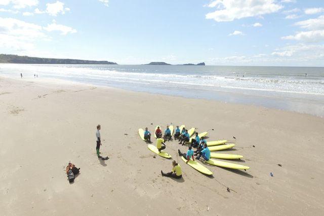 Drone shot of a team building surf activity on Llangennith beach near Swansea