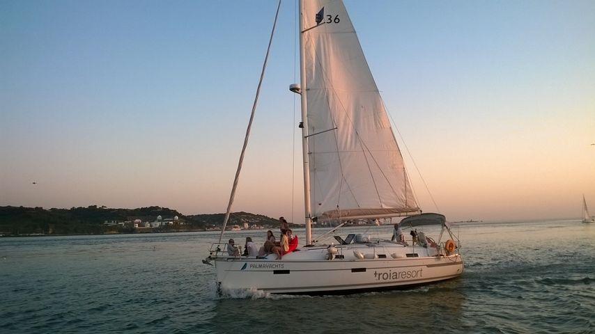 Sunset Sailing Tagus River Lisbon